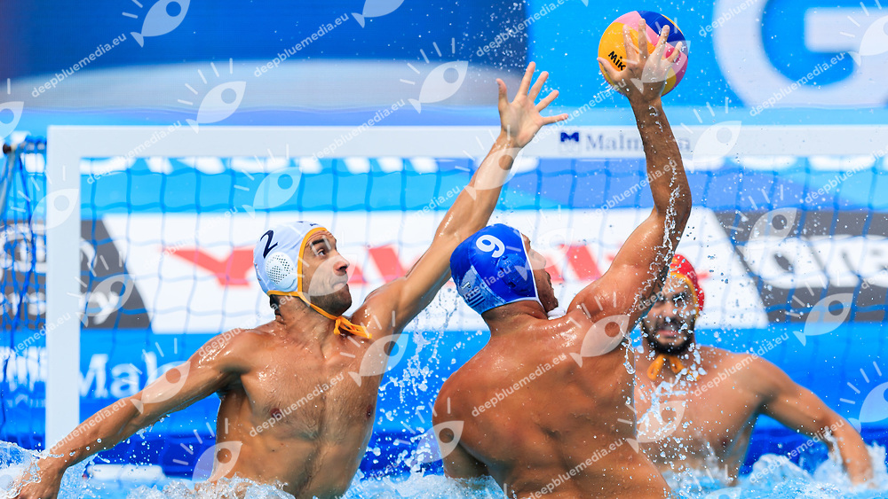 Konstantinos Mourikis of Greece and Drasko Brguljan of Montenegro<br /> Montenegro (white cap) -  Greece (blue cap)<br /> Quarterfinal  Round Water Polo Man<br /> Day12  25/07/2017 <br /> XVII FINA World Championships Aquatics<br /> Alfred Hajos Complex Margaret Island  <br /> Budapest Hungary <br /> Photo @Deepbluemedia/Insidefoto Photo @Marcelterbals/Deepbluemedia/Insidefoto