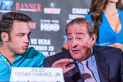 LOS ANGELES, California/USA (Friday, Aug 23 2013) - Pro boxer Julio Cesar Chavez Jr (46-1-1, 32 KOs) talks with Top Rank president Bob Arum During the press conference at the Millenium Biltmore Hotel to announce the Chavez jr vs Vera fight next September 28 at the StubHub Center in Carson, CA. Los Angeles,CA USA. 29th August 2013. Fees must be agreed for image use. Byline, credit, TV usage, web usage or linkback must read: © SILVEXPHOTO.COM.