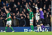 Tom Lees (15) Adam Reach (20) & Cameron Dawson (25) appeal for a goal kick during the EFL Sky Bet Championship match between Derby County and Sheffield Wednesday at the Pride Park, Derby, England on 11 December 2019.