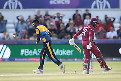 July 1, 2019 - Chester Le Street, County Durham, United Kingdom - Isuru Udana of Sri Lanka runs out Fabian Allen during the ICC Cricket World Cup 2019 match between Sri Lanka and West Indies at Emirates Riverside, Chester le Street on Monday 1st July 2019. (Credit Image: © Mi News/NurPhoto via ZUMA Press)