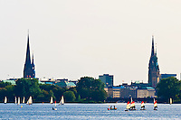 Sailboats and sculls (rowboats), Alster Lake, Hamburg, Germany