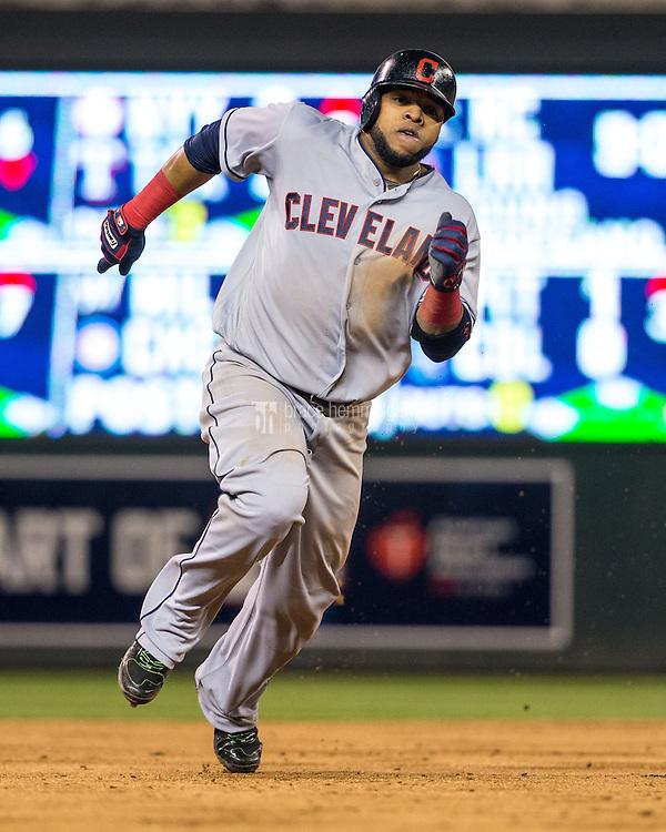 MINNEAPOLIS, MN- APRIL 27: Carlos Santana #41 of the Cleveland Indians runs against the Minnesota Twins on April 27, 2016 at Target Field in Minneapolis, Minnesota. The Indians defeated the Twins 6-5. (Photo by Brace Hemmelgarn) *** Local Caption *** Carlos Santana