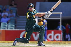 © Licensed to London News Pictures. 08/03/2012. Adelaide Oval, Australia. Australian batsmen Shane Watson plays a cut shot during the One Day International cricket match final between Australia Vs Sri Lanka. Photo credit : Asanka Brendon Ratnayake/LNP
