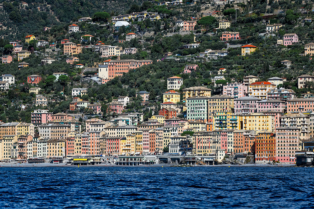 Scenic view of the coastal town of  Camogli, Liguria, Italy.