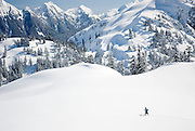 Backcountry skier, Heather Meadows Recreation Area Washington USA