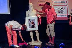 Theo Bos and Ron Zwerver during honoring of the gold and silver medal in the Holland Heineken House for Anky van Grunsven and Theo Bos on August 25, 2004 in Olympic Stadion Spyridon Louis, Athens.
