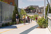 Bicyclists along the 606 elevated bike trail, green space and park built on the old Bloomingdale Line in the Wicker Park neighborhood in Chicago, Illinois, USA