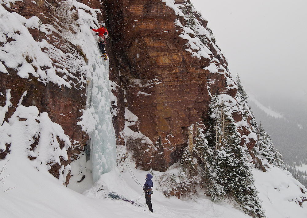 Kevin Craig ice climbs Direct Northface WI4 in South Mineral Creek, Silverton, Colorado