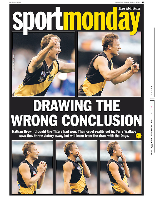 Cruelty set in as Nathan Brown of the Richmond Tigers realises that they only secured a draw after thinking they had won. (Copyright Michael Dodge/Herald Sun)