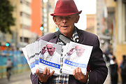 BOGOTA, COLOMBIA 04 SEPT 2017: Images from Bogota on the eve of Pope Francis historic visit to Colombia. Street vendors sell memorabilia and booklets commemorating the visit.