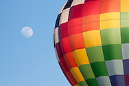 Middletown, New York - The moon and a hot air balloon above Randall Airport on April 12, 2014.