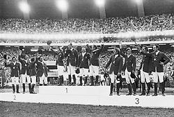 Podium, Italy, Germany, Belgium, Edgar Henri Cuepper, Stanny Van Paesschen, Eric Wauters, François Mathy<br /> Olympic Games Montreal 1976<br /> © Hippo Foto - Hugo M Czerny<br /> 29/04/2020