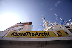 USA ALASKA KODIAK 27JUN12 - Save the Arctic banner on the side of the Greenpeace ship Esperanza in Kodiak, Alaska.......Photo by Jiri Rezac / Greenpeace