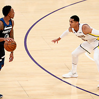 25 December 2017: Los Angeles Lakers guard Jordan Clarkson (6) defends on Minnesota Timberwolves guard Jeff Teague (0) during the Minnesota Timberwolves 121-104 victory over the LA Lakers, at the Staples Center, Los Angeles, California, USA.