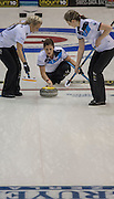 "Glasgow. SCOTLAND. Scotland's Vicki ADAMS, just after Guiding and releasing the ""Stone"" over the ""Hog Line"" at the Le Gruyère European Curling Championships. 2016 Venue, Braehead  Scotland<br /> Sunday  20/11/2016<br /> <br /> [Mandatory Credit; Peter Spurrier/Intersport-images]"