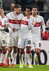 STUTTGART, Feb. 4, 2019  Stuttgart's Daniel Didavi (2nd R) celebrates his scoring with teammates during a German Bundesliga match between VfB Stuttgart and SC Freiburg in Stuttgart, Germany, Feb. 3, 2019. The match ended 2-2. (Credit Image: © Kevin Voigt/Xinhua via ZUMA Wire)