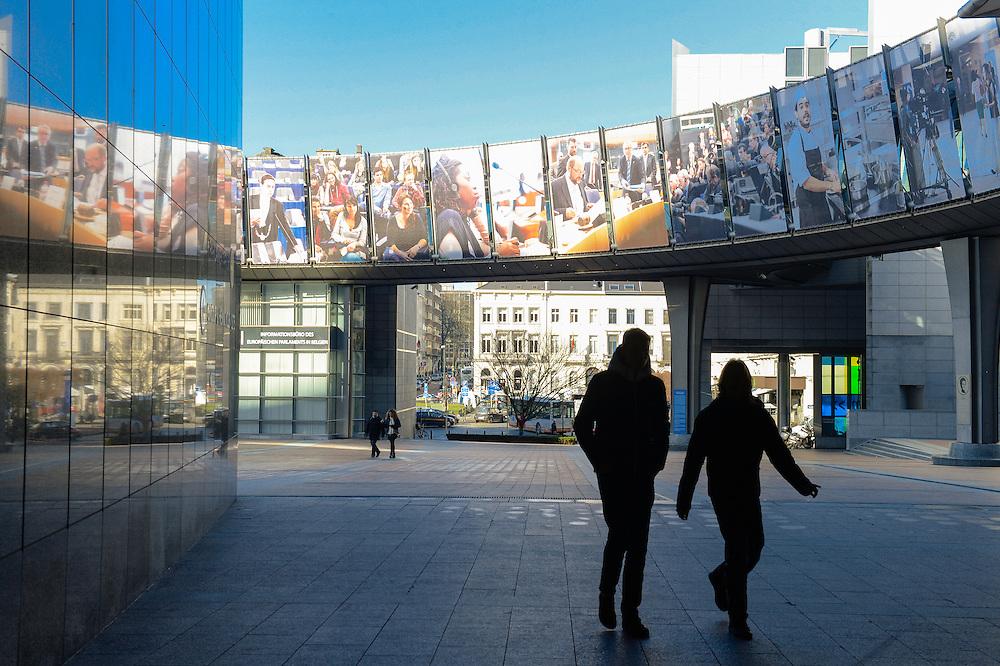 Pictures exhibited on the Konrad Adenauer passerelle over the Simone Veil esplanade