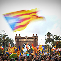 Barcelona, Spain - 10 October 2017: Pro-Independence supporters gather at Arc de Triomf for Puigdemont's announcement at the Catalan Parliament