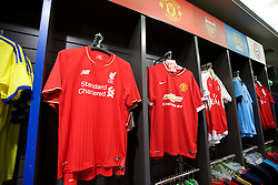 BANGKOK, THAILAND - Sunday, July 12, 2015: Liverpool, Manchester United and Arsenal shirts on sale at Central World Mall ahead of the team's arrival in Thailand for the start of the club's preseason tour. (Pic by David Rawcliffe/Propaganda)