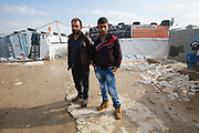 Ibrahim and Radwan, Syrian brothers who are now refugees living in an informal tented settlement in Lebanon's Bekaa Valley. <br /> <br /> Picture: Russell Watkins/DFID