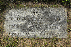 31 August 2017:   Veterans graves in Park Hill Cemetery in eastern McLean County.<br /> <br /> Fred William Meyer  Illinois  Bugler  Co E  345 Infantry  World War I  April 19 1893  June 11 1961