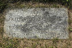 31 August 2017:   Veterans graves in Park Hill Cemetery in eastern McLean County.<br /> <br /> Fred William Meyer  Illinois  Bugler  Co E  345 Infantry  World War I  April 19 1893  June 11 1961