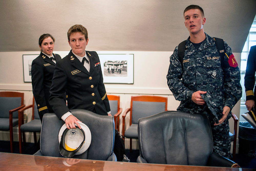 "photo by Matt Roth.Wednesday, October 17, 2012.Assignment ID: 3013301A..Naval Academy cadets (L-R) Midshipman First Class Michaela ""Mikey"" Bilotta, straight, Midshipman Second Class Katherine ""Kay"" Moore, a lesbian, and president of the Academy's chapter of Spectrum, a support organization for openly gay members of the military, and Midshipman First Class Nicholas Bonsall. gay, are three of five students interviewed in Annapolis, Maryland Wednesday, October 17, 2012 with The New York Times discussing how the student body has handled the repeal of Don't Ask Don't Tell. The consensus points to a relatively wide spread acceptance of gay cadets among students on campus."