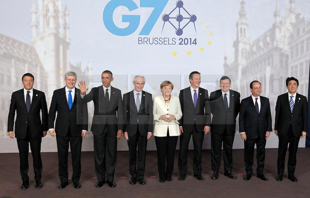 © Licensed to London News Pictures. 05/06/2014. Brussels, BELGIUM.<br /> G7 SUMMIT Family Photo, 5/6/2014<br /> G7 leaders (L-R), Matteo Renzi, Stephen Harper,Barack Obama,Herman Van Rompuy ,Angela Merkel,David Cameron,Jose Manuel Barroso,Francois Hollande,Shinzo Abe. Photo credit : RICH BOWEN/LNP