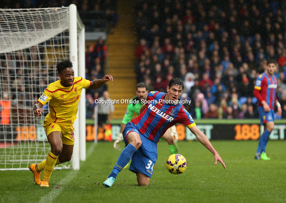 23 November 2014 - Barclays Premier League - Crystal Palace v Liverpool - Martin Kelly of Crystal Palace in action with Raheem Sterling of Liverpool - Photo: Marc Atkins / Offside.