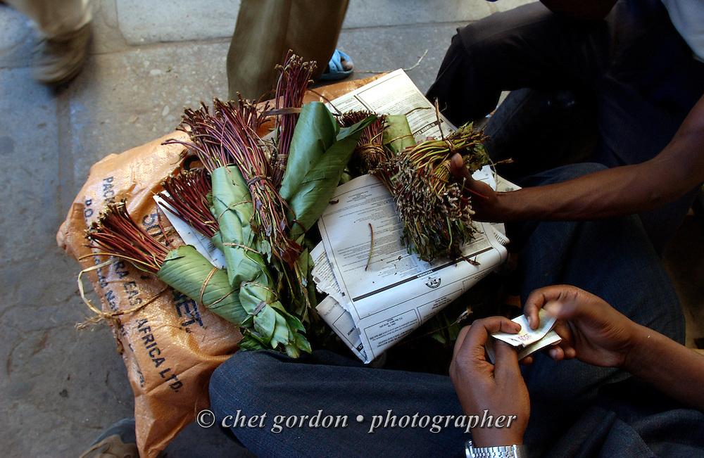 Street vendors sell khat in Mombasa, Kenya on Thursday, May 18, 2006.