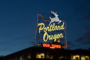 "The ""Portland Oregon"" sign in downtown Portland. Winter 2013."