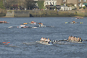 Chiswick. GREAT BRITAIN, approaching the start, from, Chiswick Bridge, during the 2007 Women's Head of the River Race,  raced over the Championship Course, [reverse] on the River Thames, London, on SAT 17.03.2007,  [Photo Peter Spurrier/Intersport Images]  [Mandatory Credit, Peter Spurier/ Intersport Images]. , Rowing Course: River Thames, Championship course, Putney to Mortlake 4.25 Miles,