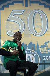 A's Hall of Famer Rickey Henderson answers questions from the crowd during Oakland Athletics FanFest at Jack London Square on Saturday, Jan. 27, 2018 in Oakland, Calif. (D. Ross Cameron/SF Chronicle)