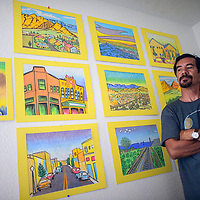 070214       Cable Hoover<br /> <br /> Artist Ric Sarracino is opening a new exhibit of pastels at Industry Gallery for July ArtsCrawl.