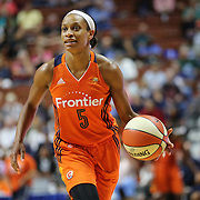 UNCASVILLE, CONNECTICUT- JUNE 3:  Jasmine Thomas #5 of the Connecticut Sun in action during the Atlanta Dream Vs Connecticut Sun, WNBA regular season game at Mohegan Sun Arena on June 3, 2016 in Uncasville, Connecticut. (Photo by Tim Clayton/Corbis via Getty Images)