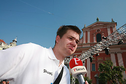 Uros Slokar at press conference and after time with fans of Slovenian basketball National Team before departure to Athens for Olympic qualifications, on July 12, 2008, at Presernov trg, in Ljubljana, Slovenia. (Photo by Vid Ponikvar / Sportal Images)