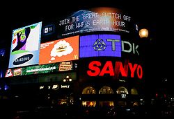 UK ENGLAND LONDON 27MAR10 - The famous illuminated advertising billboards before the lights go out during Earth Hour at central London's iconic Piccadilly Circus...jre/Photo by Jiri Rezac / WWF  UK..© Jiri Rezac 2010