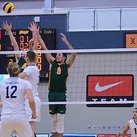 3rd year outside hitter Dalton Wolfe (9) and 2nd year middle Cody Caldwell (4) of the Regina Cougars in action during the Men's Volleyball Home Game vs Trinity Western  on October 28 at the CKHS University of Regina. Credit Matt Johnson/Arthur Images