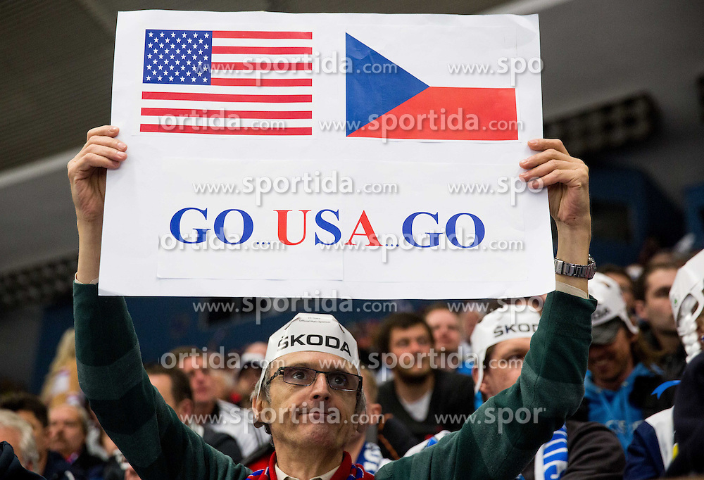 Fan of USA during Ice Hockey match between USA and Finland at Day 1 in Group B of 2015 IIHF World Championship, on May 1, 2015 in CEZ Arena, Ostrava, Czech Republic. Photo by Vid Ponikvar / Sportida