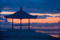 Silkscreen pagoda at dawn on the Indian Ocean in Bali, Indonesia