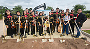 Sam Houston Mariachi members pose for a photograph during a groundbreaking ceremony for new Sam Houston Math, Science and Technology Center School, March 24, 2017.