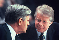 German Chancellor Helmut Schmidt and President Jimmy Carter confer at the final press briefing during the visit to Germany for the Economic Summit in July 1978<br /> Photo by Dennis Brack