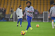 Chelsea Midfielder Willian warms up during the Premier League match between Wolverhampton Wanderers and Chelsea at Molineux, Wolverhampton, England on 5 December 2018.