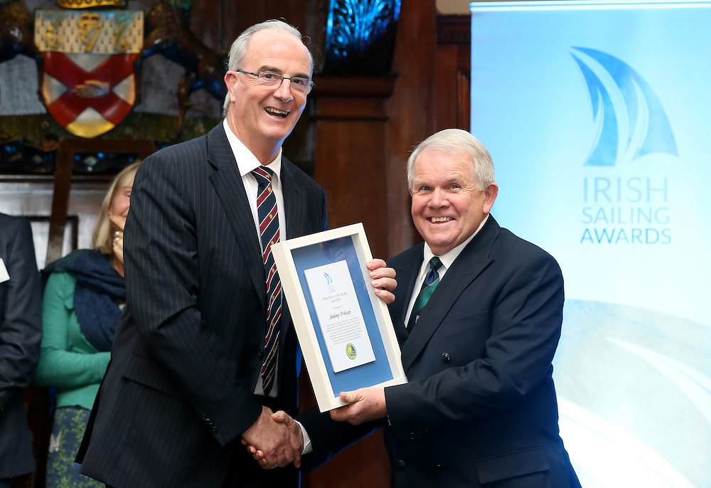 REPRO FREE***PRESS RELEASE NO REPRODUCTION FEE***<br /> Irish Sailing Awards, Royal College of Surgeons, Stephen's Green, Dublin 4/2/2016<br /> National Yacht Club sailor Liam Shanahan was named the 2015 Irish Sailor of the Year today at the Irish Sailing Awards in Dublin - Shanahan had a remarkable year, including victory in the Dun Laoghaire to Dingle race in June on his boat Ruth with two miles to spare.<br /> Kilkenny's Doug Elmes and Malahide's Colin O'Sullivan jointly took home the Irish Sailing Association (ISA) Youth Sailor of the Year award. The Howth Yacht Club sailors were hotly tipped following their recent Bronze medal success at the 2015 Youth World Championships in Malaysia, where they took Ireland's first doublehanded youth worlds medal in 19 years.<br /> The Mitsubishi Motors Sailing Club of the Year award was presented to the Royal Irish Yacht Club in honour of their success at local, national and international level.<br /> Mullingar Sailing Club took home the ISA Training Centre of the Year award, having been nominated as winners of the western-region Training Centre of the Year.<br /> Pictured is Anthony O'Leary, Sailor of the Month winner for April, and David Lovegrove, President ISA<br /> Mandatory Credit ©INPHO/Cathal Noonan