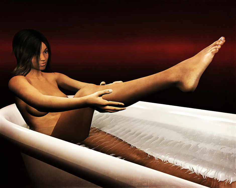 This Acryl on canvas piece gives us the scene of a woman taking a bath. She is very relaxed, and we watch as she gently applies waters to her legs. This is a leisurely bath. She is going to relax, and she is going to take her time. This beautiful piece offers the nude human form in all its details, imperfections, and other glories. This is a wonderful example of fine art that can work in a wide range of spaces. Against a beautiful red backdrop, the bath begins. Available as wall art, t-shirts, or as interior home décor products. .<br />