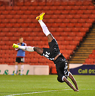 Picture by Richard Land/Focus Images Ltd +44 7713 507003<br /> 27/08/2013<br /> Emmanuel Mayuka of Southampton celebrates scoring during the Capital One Cup match at Oakwell, Barnsley.