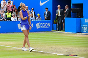 Petra Kvitova of the Czech Republic wins her match (4-6) (6-3) (6-2) and throws away the ball and racquet at the Final of the Aegon Classic Birmingham at Edgbaston Priory Club, Edgbaston, United Kingdom on 25 June 2017. Photo by Martin Cole.