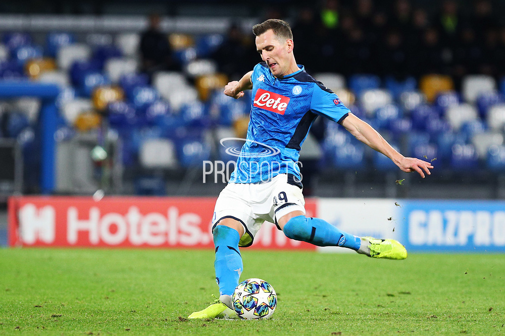 Arkadiusz Milik of Napoli scores 3-0 goal by penalty during the UEFA Champions League, Group E football match between SSC Napoli and KRC Genk on December 10, 2019 at Stadio San Paolo in Naples, Italy - Photo Federico Proietti / ProSportsImages / DPPI