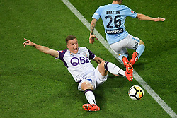 November 24, 2017 - Melbourne, Victoria, Australia - SHANE LOWRY (4) of the Glory reacts after winning the ball from LUKE BRATTAN (26) of Melbourne City in the round eight match of the A-League between Melbourne City and Perth Glory at AAMI Park, Melbourne, Australia. Perth won 3-1 (Credit Image: © Sydney Low via ZUMA Wire)