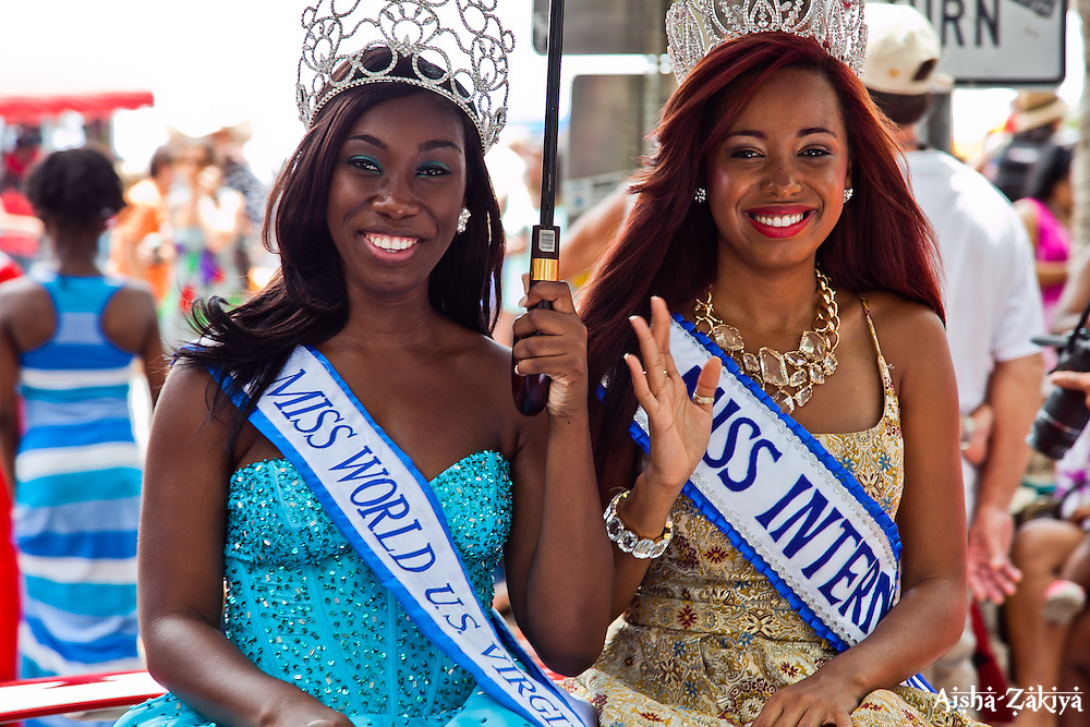 Miss World USVI Taiesa Lashley and MIss International VI Vanessa Donastorg.  St. John Carnival 2012 © Aisha-Zakiya Boyd